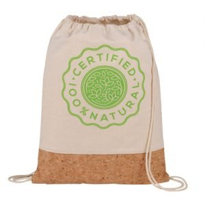 Certified Natural Cotton & Cork drawstring bag