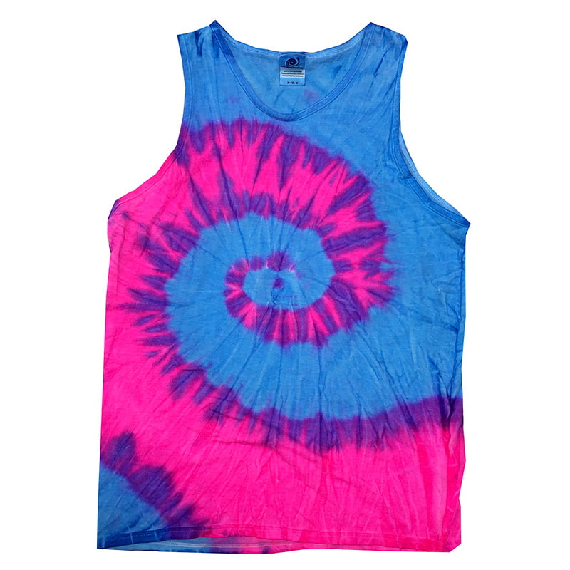 Tie Dye flo blue and pink tank