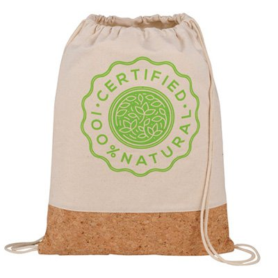 Certified Natural Cotton and Cork drawstring bag