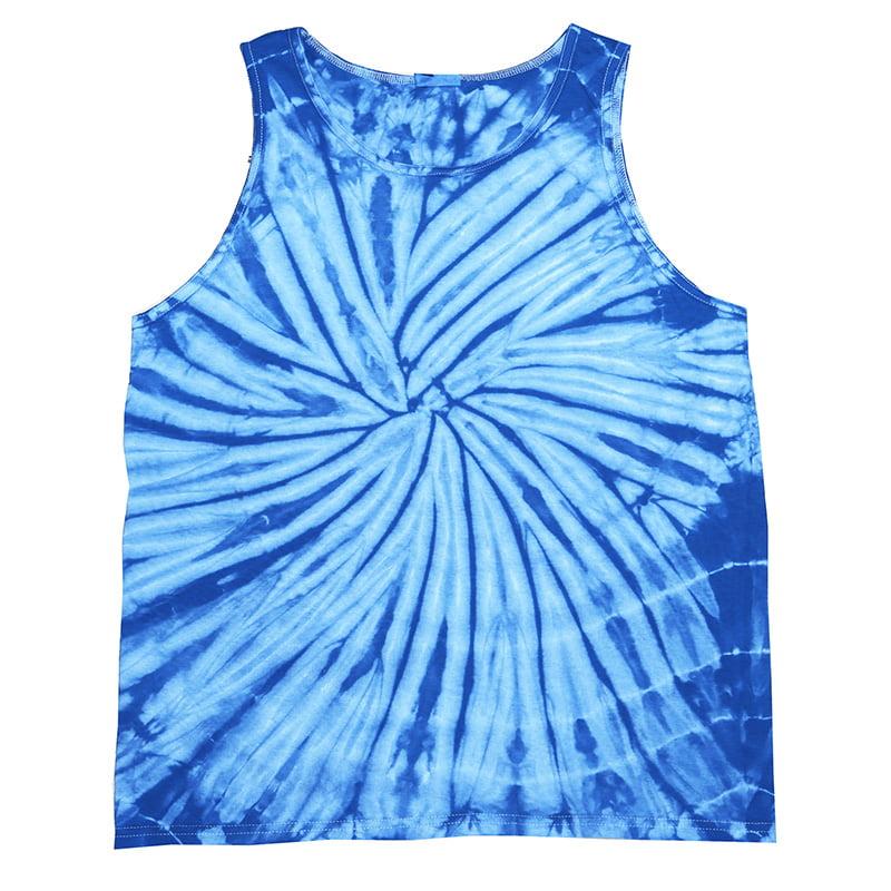 Tie Dye spider baby blue tank