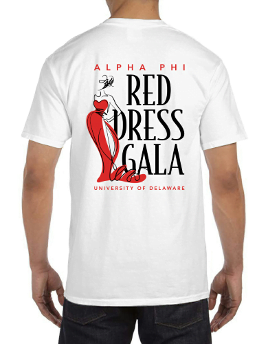 alpha phi, t-shirt, red dress gala, greek apparel, sorority apparel, greek week, spring formal, fraternity