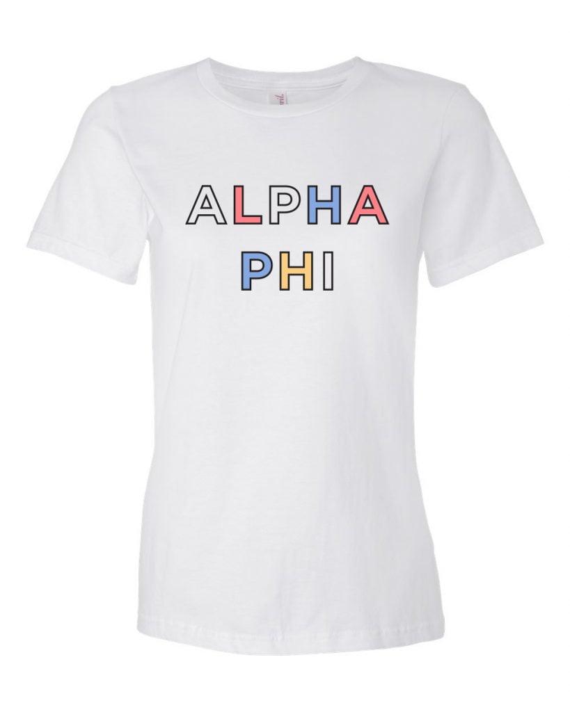 alpha phi, t-shirt, greek apparel, sorority apparel